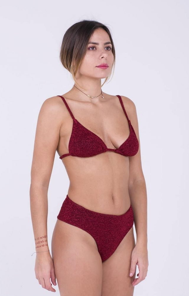 Mimì à la Mer intimo/costume lurex rosso